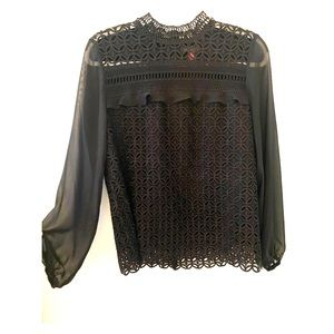 Vince Camuto Long Sleeve Blouse - Black Size Small